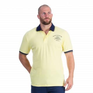 Polo manches courtes en coton piqué jaune avec broderies Maison de rugby