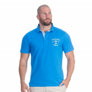 Polo manches courtes turquoise avec broderies Rugby flowers