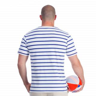 T-shirt marinière blanc rugby