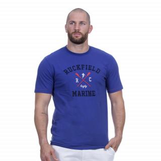 Tee-shirt manches courtes bleu avec broderie Rugby marine