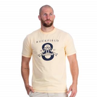 Tee-shirt manches courtes en coton jaune avec broderie Maison de rugby