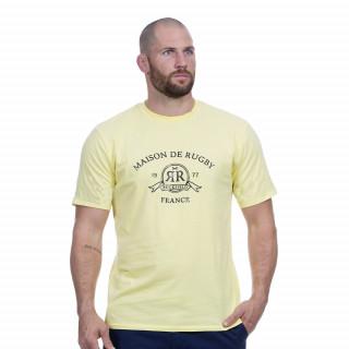 Tee-shirt manches courtes en coton jaune avec sérigraphie Maison de rugby