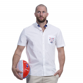 Chemise manches courtes blanche avec broderies Rugby marine