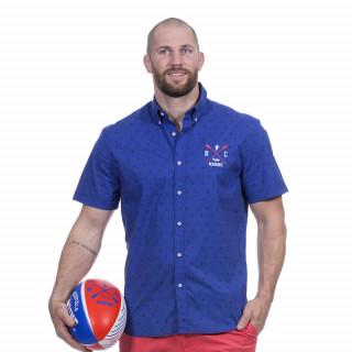 Chemise manches courtes bleu à motif avec broderie Rugby marine