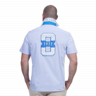 Chemise manches courtes bleu ciel avec broderies Rugby flowers
