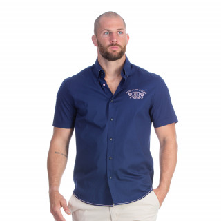 Chemise manches courtes bleu marine avec broderies Maison de rugby
