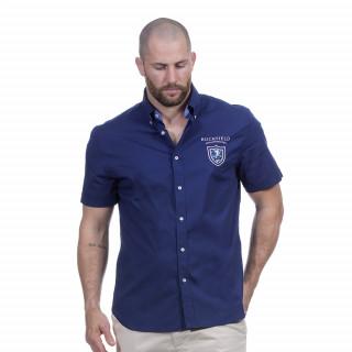 Chemise bleu marine manches courtes avec broderies sur le dos et sur la poitrine We are rugby