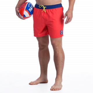 Short de bain rouge avec broderies Rugby marine