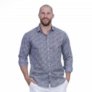 Chemise manches longues bleu à motif floral du thème Rugby élégance.