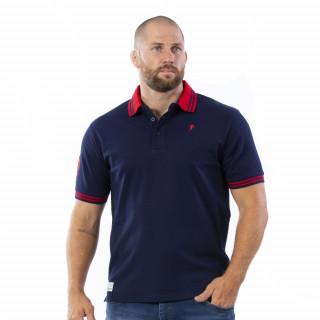 Polo manches courtes bleu marine avec broderies sur le torse et le bras