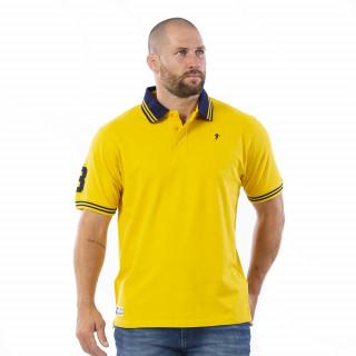 Polo manches courtes jaune avec broderies sur le torse et bras