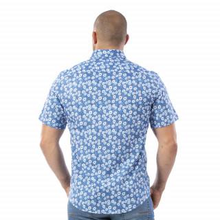 Chemise en manches courtes bleu à motifs