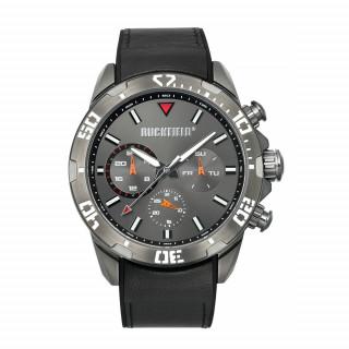 Montre bracelet en cuir Noire et cadrant en acier gris