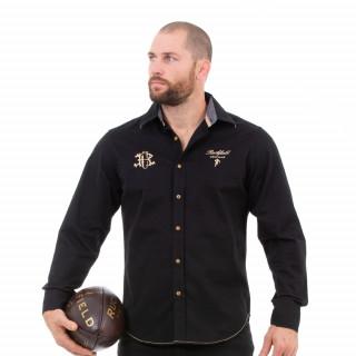 Chemise manches longues noir rugby héritage