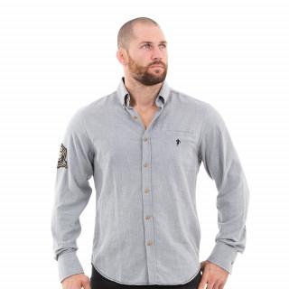 Chemise manches longues homme grise du thème rugby héritage