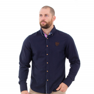 Chemise manches longues marine homme