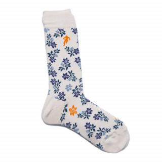 Chaussettes pour homme fleuris blanc cassé