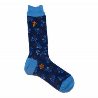 Chaussettes pour homme fleuris marine
