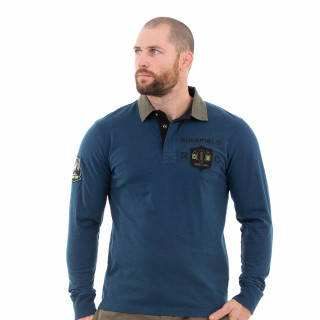 Polo manches longues homme bleu canard