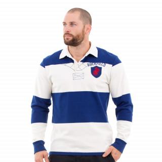 Polo de rugby vintage à rayures bleu