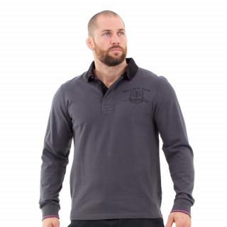 Polo manches longues pour homme gris foncé maison de rugby.