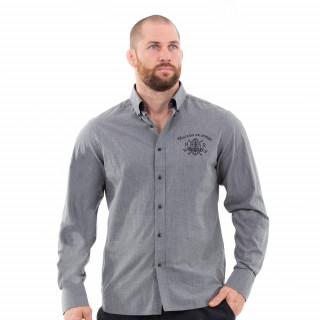 Chemise manches longues gris foncé du thème maison de rugby