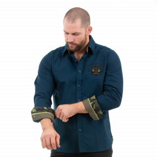 Chemise manches longues bleu pour homme