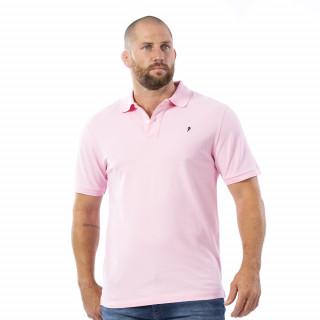 Polo manches courtes en piqué de coton rose.