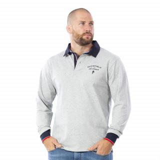 Polo le French Rugby gris en coton jersey en manches longues.