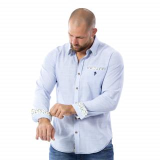 Chemise bleu clair rugby 100% coton.