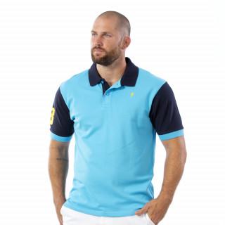 Polo Numéro 8 Bleu en coton piqué.