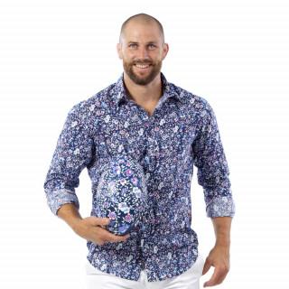 Chemise fleurie rugby en voile de coton.