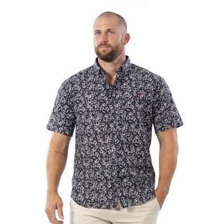 Chemise à manches courtes fleuries en voile de coton.