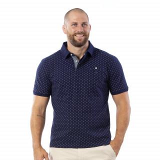 Polo à motifs bleu 100% coton piqué.