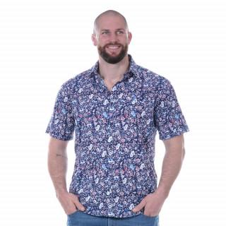Chemise fleurie rugby à manches courtes en voile de coton.