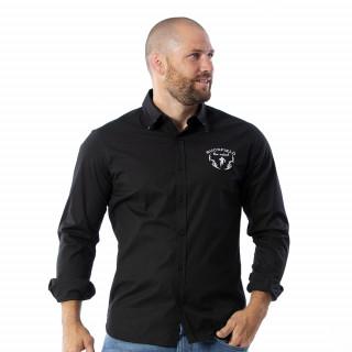 Chemise noir maori rugby 97% popeline.