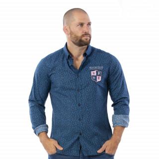 Chemise rugby bleue en voile de coton.