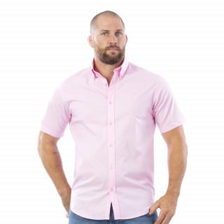 Chemise rose à manches courtes Rugby Essentiel avec logo Sébastien Chabal
