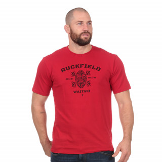 t-shirt rouge en coton bio maori rugby
