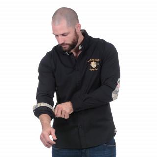 Chemise noire Rugby d'Automne à manches longues.