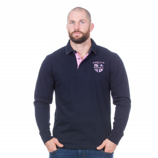 Polo marine Rugby club manches longues 100% coton