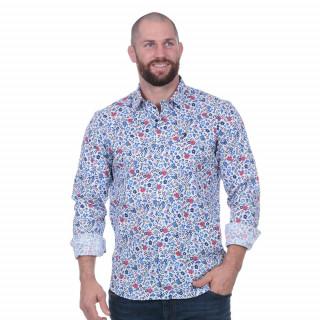 Chemise homme à fleurs 100% coton.