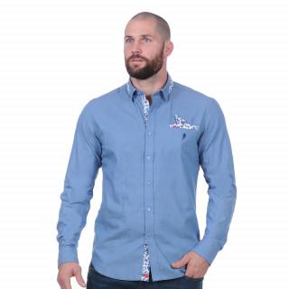 Chemise à manches longues bleue 100% coton.