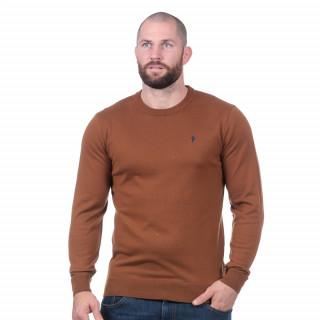 Pull essentiel marron 50% coton, 50% acrylique.