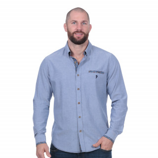 Chemise chambray bleue flowers of rugby manches longues
