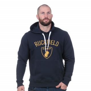Sweat à capuche marine french rugby club , broderie poitrine dorée