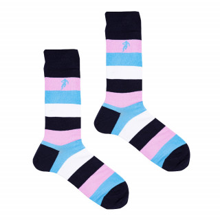 Chaussettes à grosses rayures turquoises