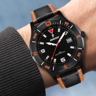 Montre en acier bracelet noir et orange