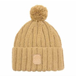 Bonnet Marron fait main en laine mérinos de grande qualité avec son pompon amovible et interchangeable.