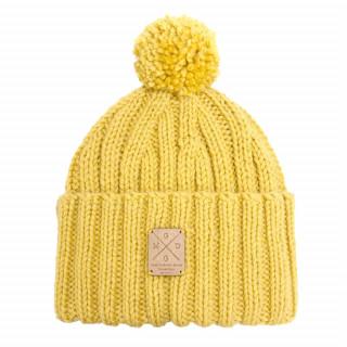 Bonnet moutarde fait main en laine mérinos de grande qualité avec son pompon amovible et interchangeable.